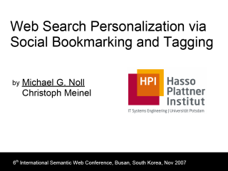 Cover of Presentation: Web Search Personalization via Social Bookmarking and Tagging