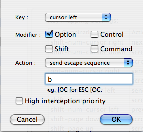 iTerm > Shortcut for word movement to the left