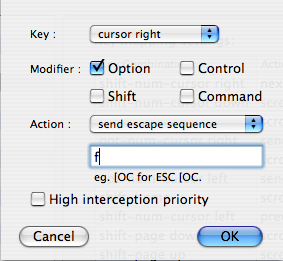 iTerm > Shortcut for word movement to the right